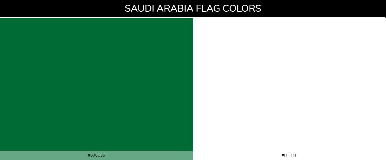 Saudi Arabia country flag color codes - Green #006c35, White #ffffff