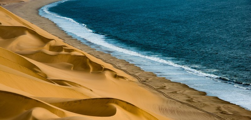 The sea touching the desert in Namibia