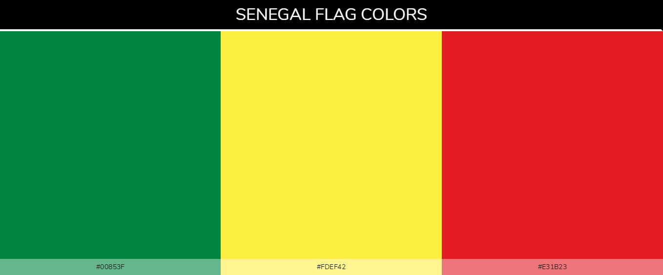 Senegal country flag color codes - Green #00853f, Yellow #fdef42, Red #e31b23