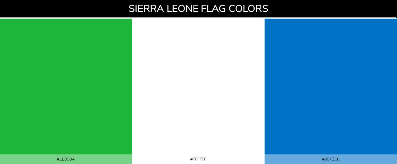 Sierra Leone country flag color codes - Green #1eb53a, White #ffffff, Blue #0072c6