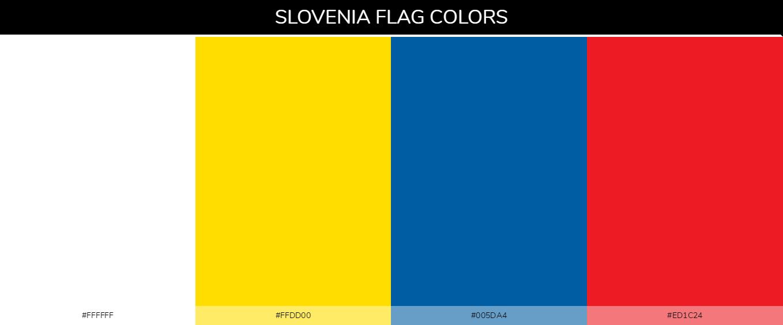 Slovenia country flag color codes - White #ffffff, Yellow #ffdd00, Blue #005da4, Red #ed1c24