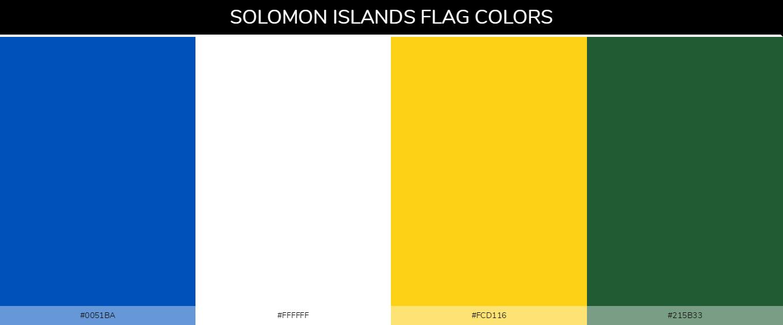 Solomon Islands country flag color codes - Blue #0051ba, White #ffffff, Yellow #fcd116, Green #215b33