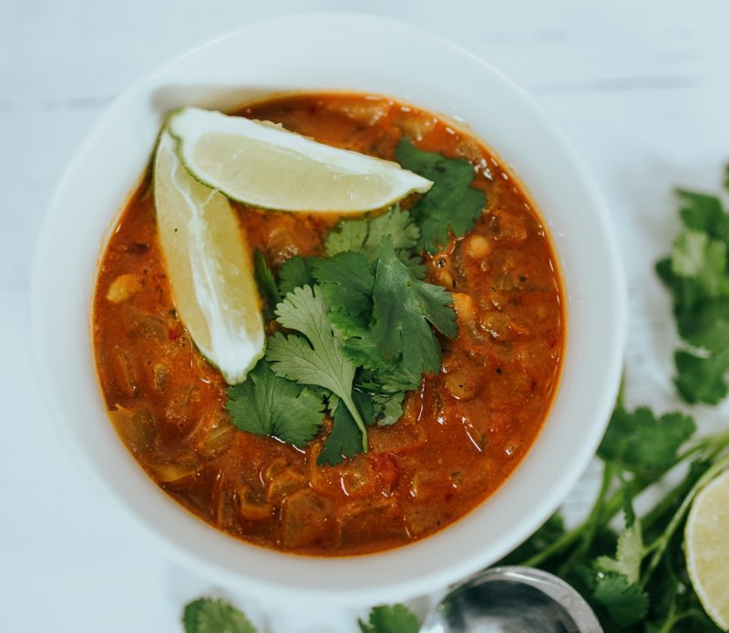 Soup Garnished with Lemon and Coriander