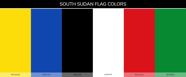South Sudan country flag color codes - Yellow #fcdd09, Blue #0f47af, Black #000000, White #ffffff, Red #da121a, Green #078930