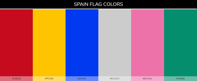 Spain country flag color codes - Red #c60b1e, Yellow #ffc400, Blue #0039f0, Green #058e6e