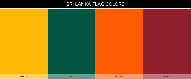 Sri Lanka country flag color codes - Yellow #ffb700, Green #005641, Orange #ff5b00, Brown #8d2029