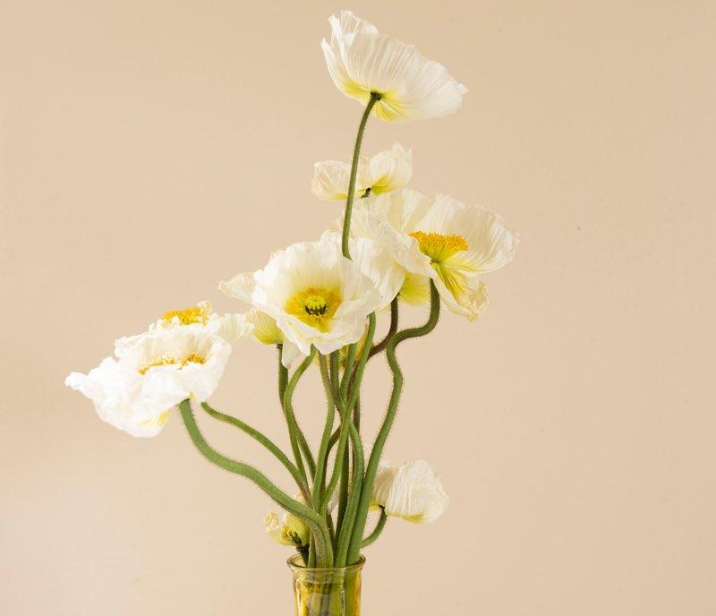 Subtle arrangement of flowers in vase