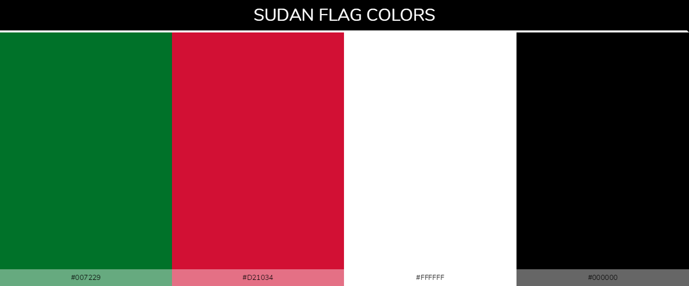 Sudan country flag color codes - Green #007229, Red #d21034, White #ffffff, black #000000