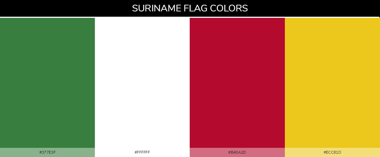Suriname country flag color codes - Green #377e3f, White #ffffff, White #ffffff, Red #b40a2d, Yellow #ecc81d