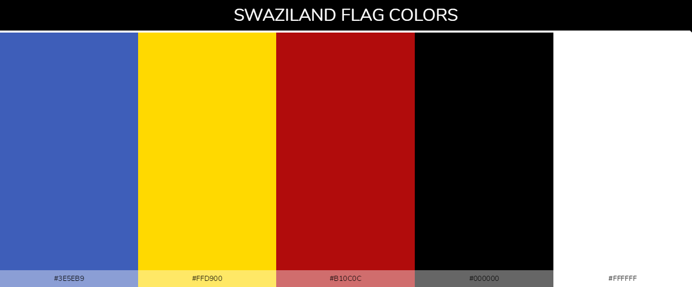 Swaziland country flag color codes - Blue #3e5eb9, Yellow #ffd900, Red #b10c0c, Black #000000, White #ffffff