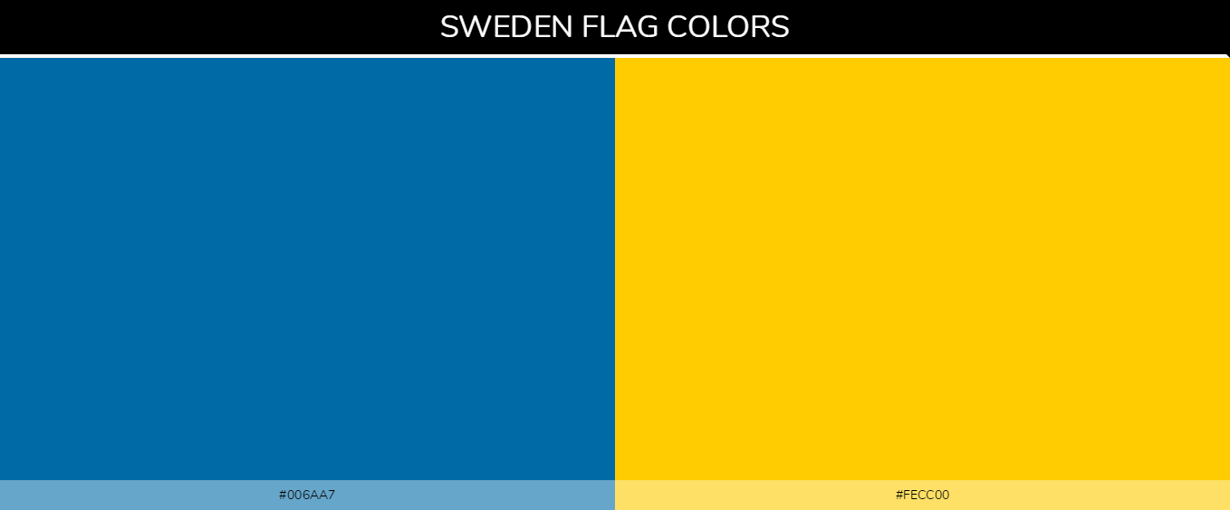 Sweden country flag color codes - Blue #006aa7, Yellow #fecc00