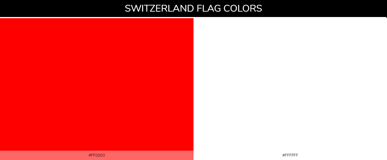 Switzerland country flag color codes - Red #ff0000, White #ffffff