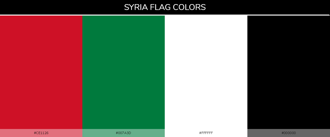 Syria country flag color codes - Red #ce1126, Green #007a3d, White #ffffff, Black #000000