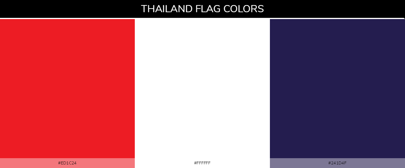 Thailand country flag color codes - Red #ed1c24, White #ffffff, Blue #241d4f