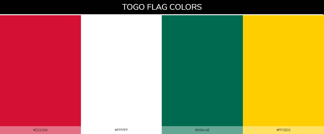 Togo country flag color codes - Red #d21034, White #ffffff, Green #006a4e, Yellow #ffce00
