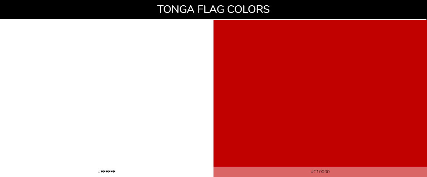 Tonga country flag color codes - White #ffffff, Red #c10000