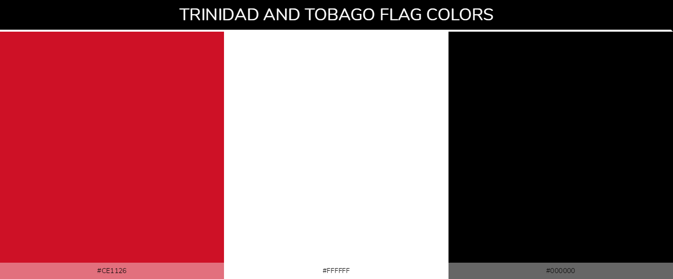 Trinidad and Tobago country flag color codes - Red #ce1126, White #ffffff, Black #000000