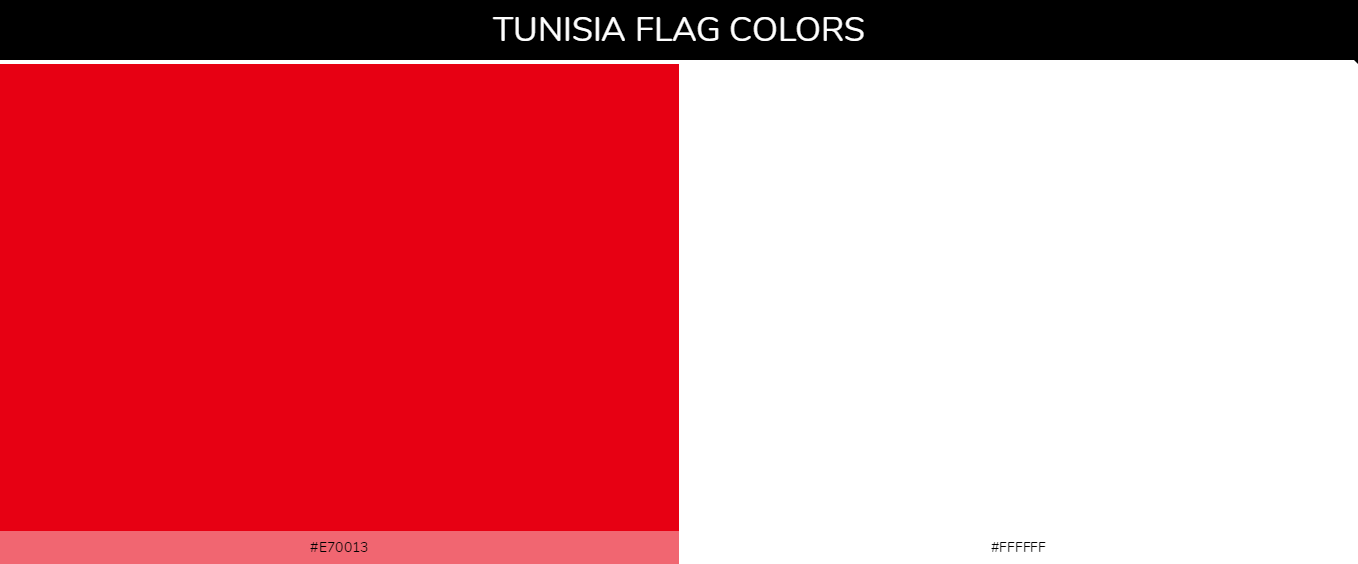 Tunisia country flag color codes - Red #e70013, White #ffffff