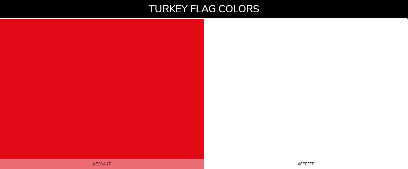 Turkey country flag color codes - Red #e30a17, White #ffffff