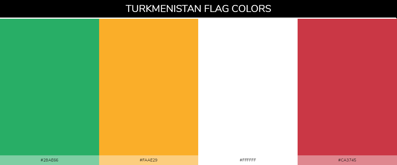 Turkmenistan country flag color codes - Green #28ae66, Yellow #faae29, White #ffffff, Red #ca3745