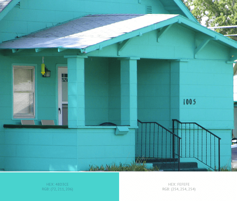 This awesome House Exterior has 3 colors combination with Medium Turquoise, Platinum and Blue Sapphire.