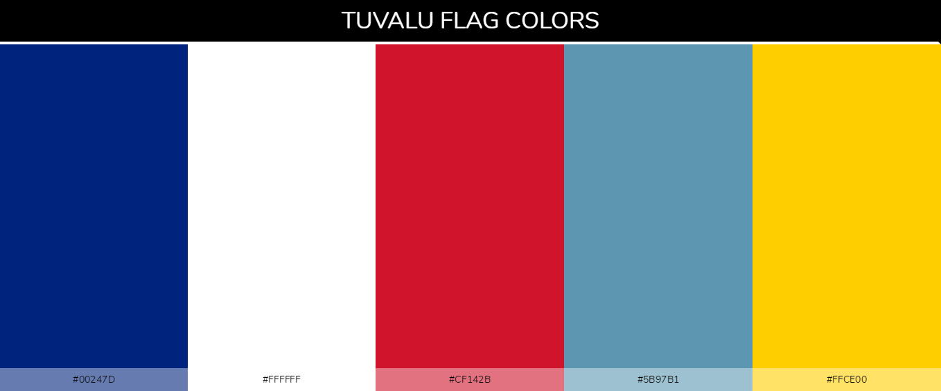 Tuvalu country flag color codes - Blue #00247d, White #ffffff, Red #cf142b, Blue #5b97b1, Yellow #ffce00