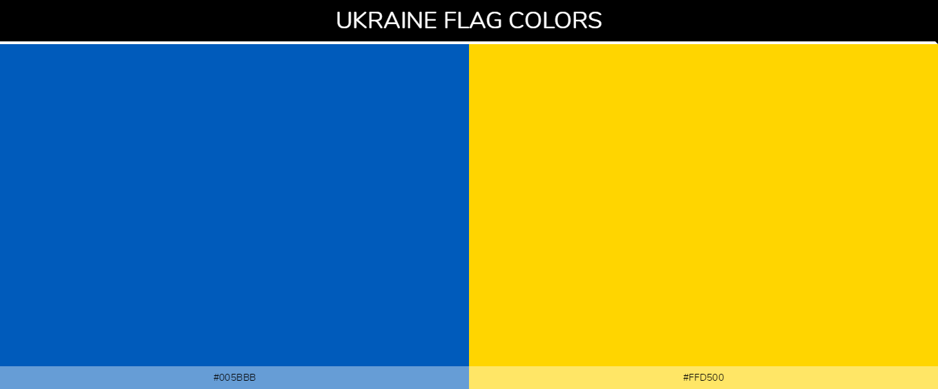 ukraine Country Flag color codes - Blue #005bbb, Yellow #ffd500