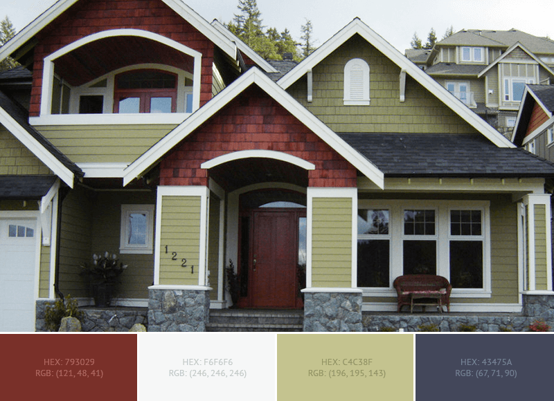 This creative House Exterior has 4 colors combination with Silver Sand, Charcoal, Caput Mortuum and Dark Tan.