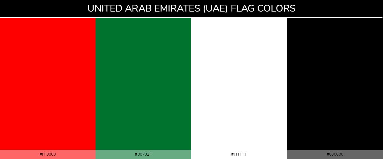 UAE Country Flag color codes - Red #ff0000, Green #00732f, White #ffffff, Black #000000