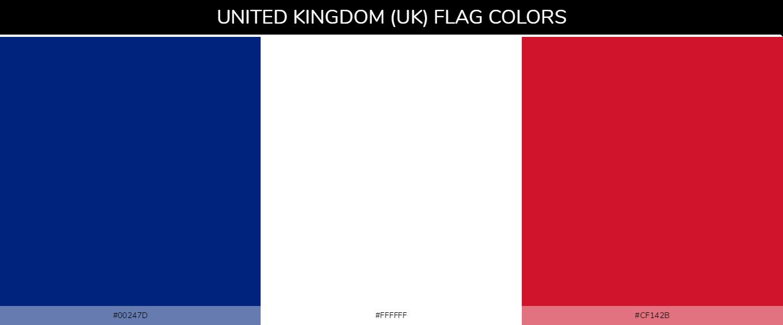 United Kingdom (UK) Country Flag color codes - Blue #00247d, White #ffffff, Red #cf142b