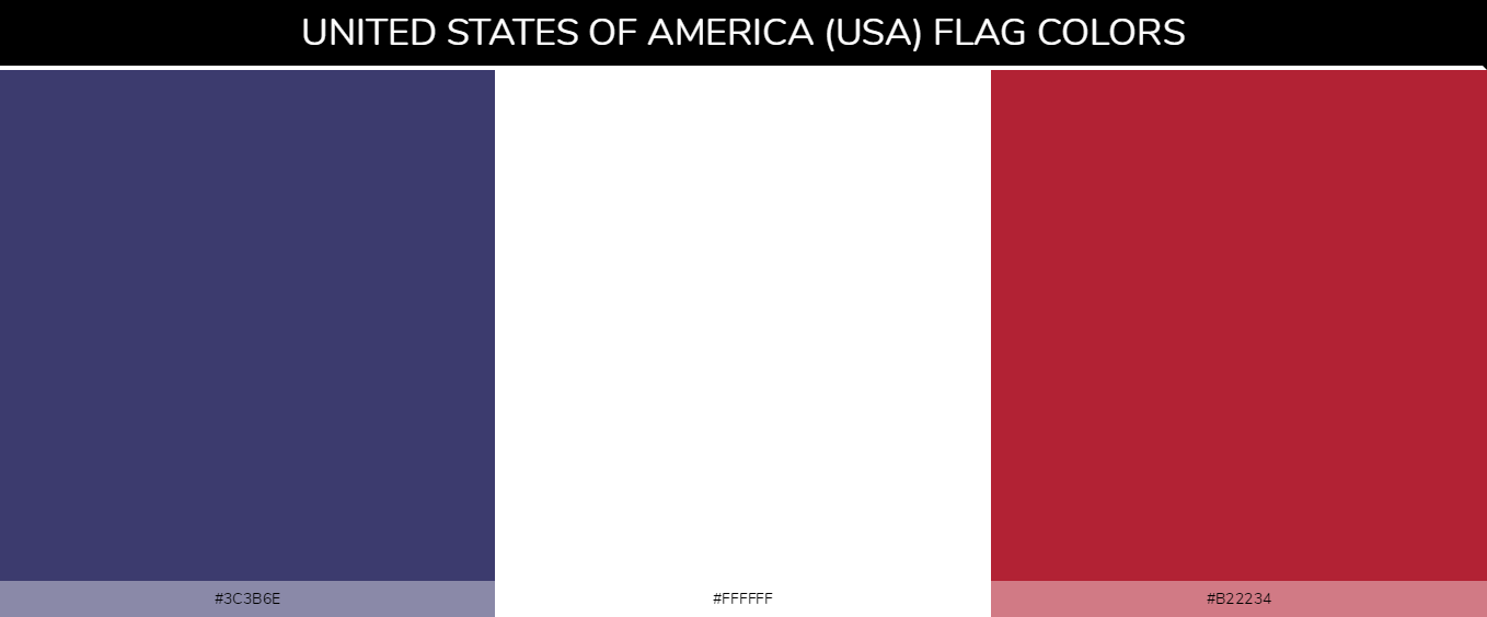 United States of America (USA) Country Flag color codes - Blue #3c3b6e, White #ffffff, Red #b22234