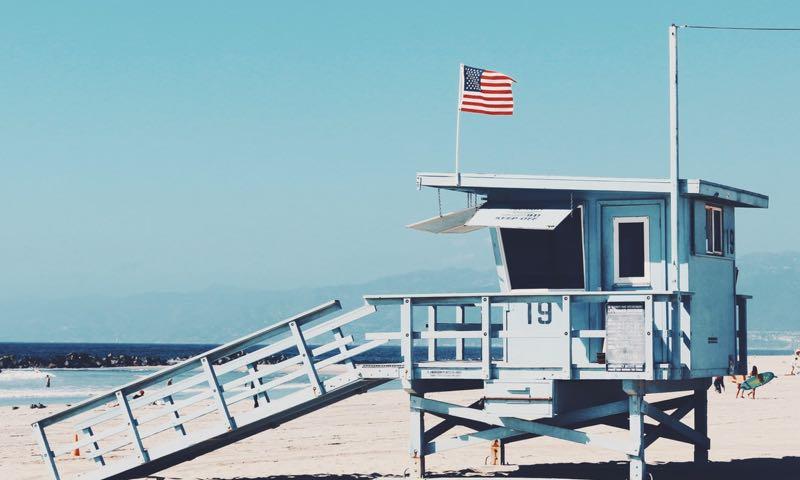 USA flag on a beach