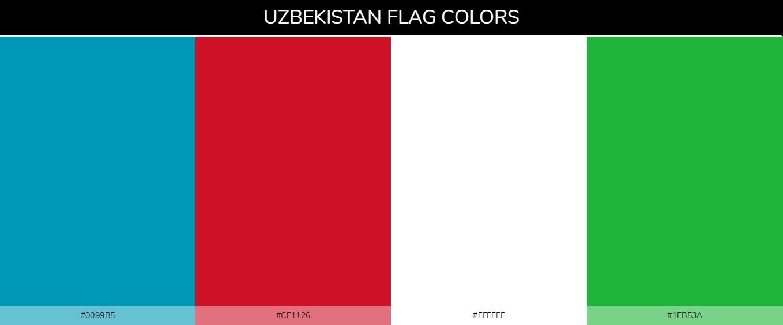Uzbekistan Country Flag color codes - Blue #0099b5, Red #ce1126, White #ffffff, Green #1eb53a