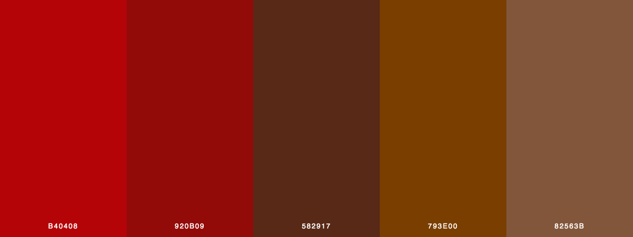 Valentine Chocolates color palette with red, maroon and brown colors