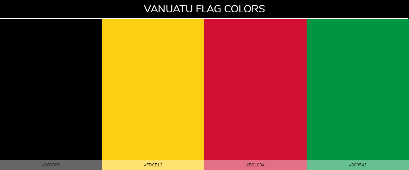 Vanuatu country flag color codes - Black #000000, Yellow #fdce12, Red #d21034, Green #009543
