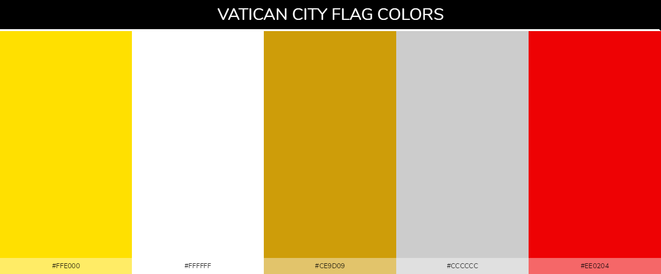 Vatican City country flag color codes - Gold #ffe000, White #ffffff, Gray #cccccc, Red #ee0204