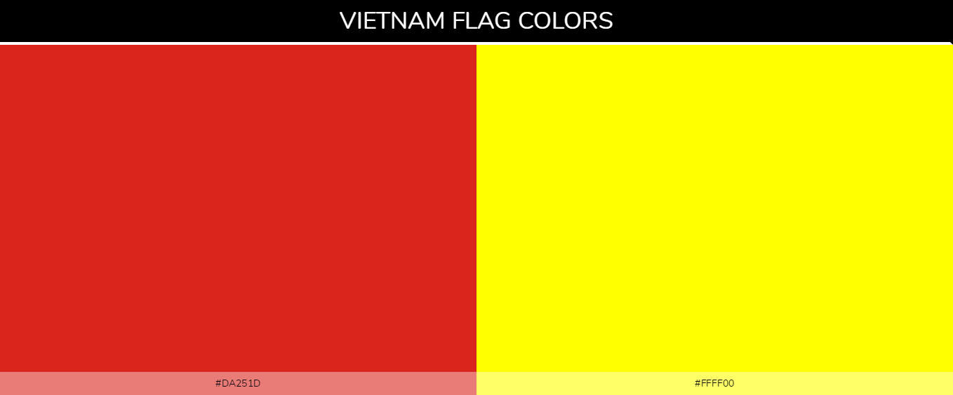 Vietnam country flag color codes - Red #da251d, Yellow #ffff00
