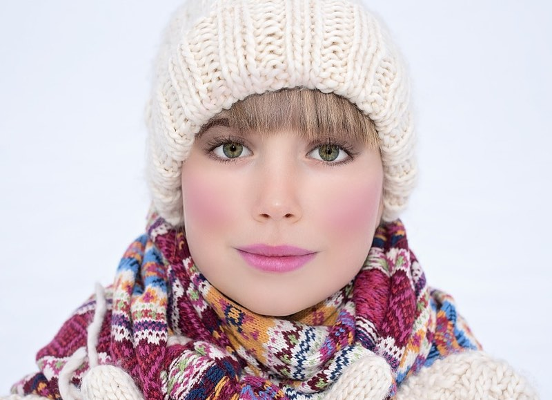 Pretty woman in winter clothes and hat
