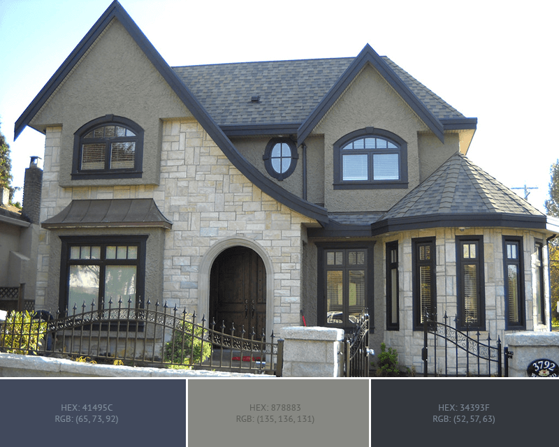 This creative House Exterior has 3 colors combination with Outer Space, Battleship Grey and Onyx.