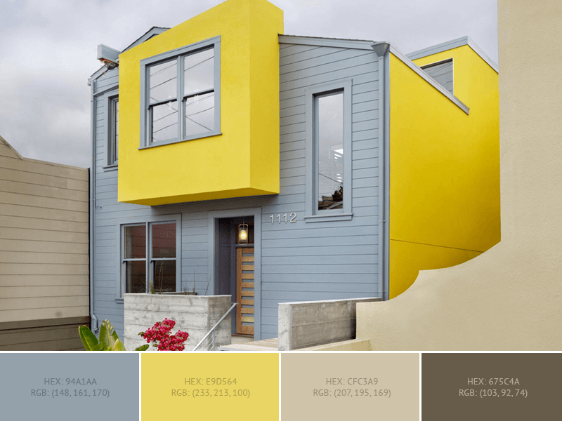 Yellow Gray House This Wonderful Exterior Has 2 Colors Combination With Cadet Grey And Meat Brown