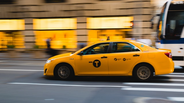 Yellow Taxi Out in Town