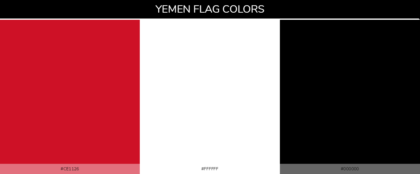 Yemen country flag color codes - Red #ce1126, White #ffffff, Black #000000